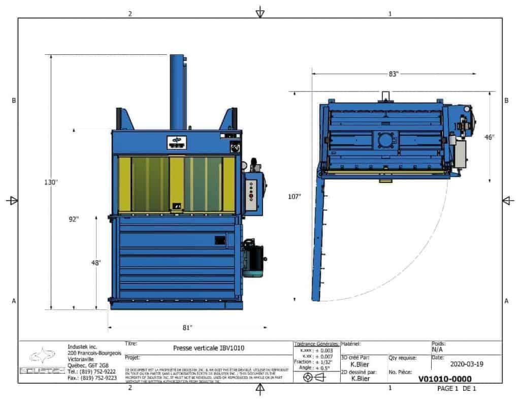 Plan technique - Presse verticale - IBV1010 - Industek