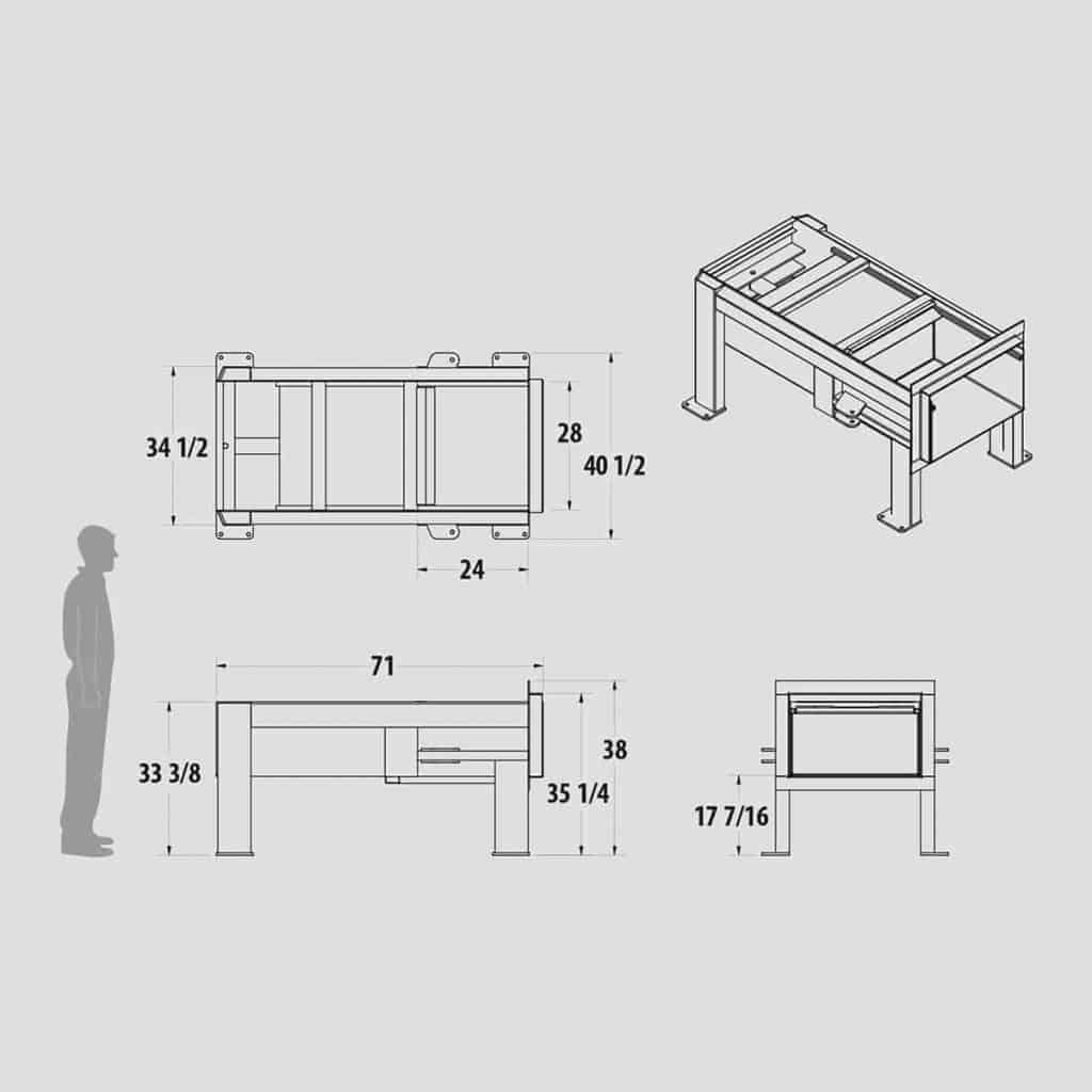 Plan technique : Mini compacteur stationnaire FK0.4 - Industek