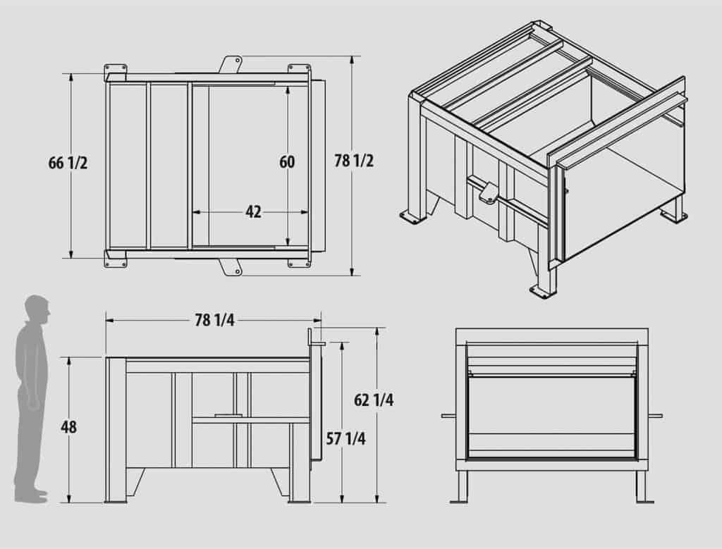 Plan technique : Compacteur stationnaire cylindres en X - FX2.0 - Industek