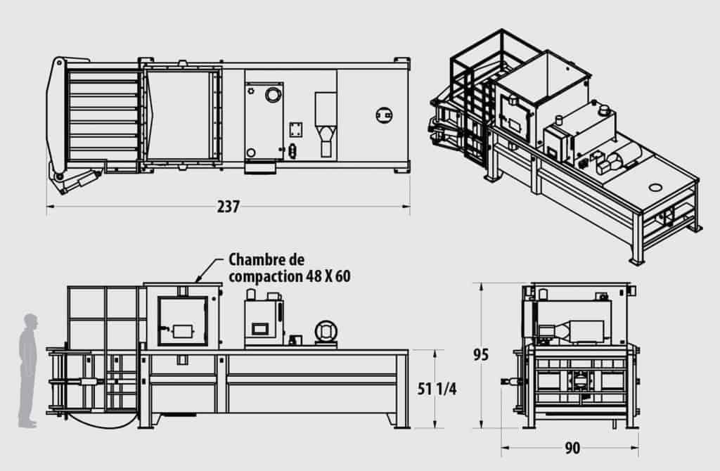 Plan technique - Presse horizontale IBH 1510 - Industek