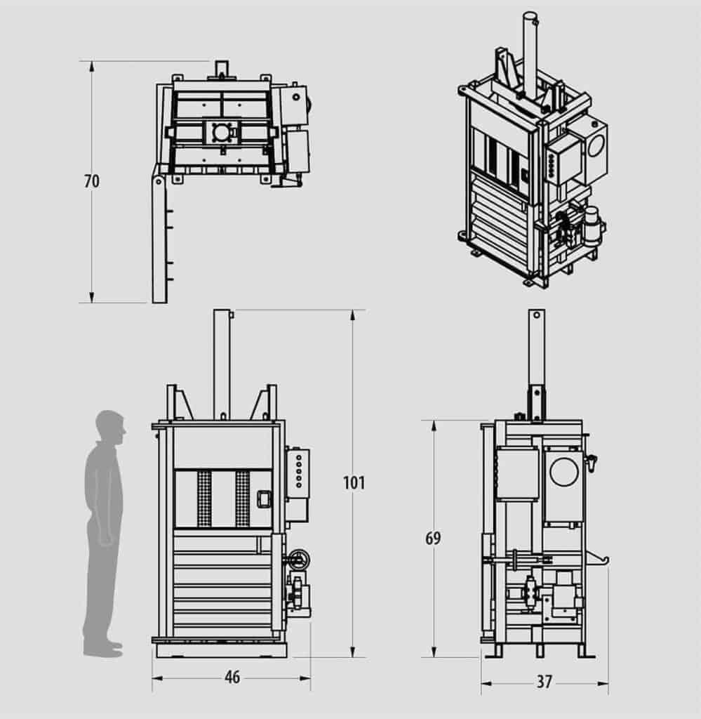 Plan technique : Presse verticale pour le carton, plastique et matière recyclable - IBV0310HE - Industek