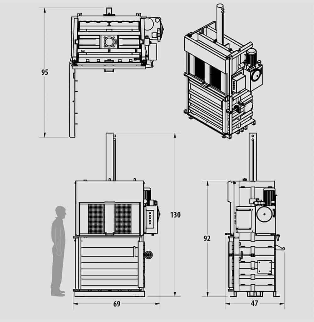 Plan technique - Presse verticale - IBV0710HE - Industek