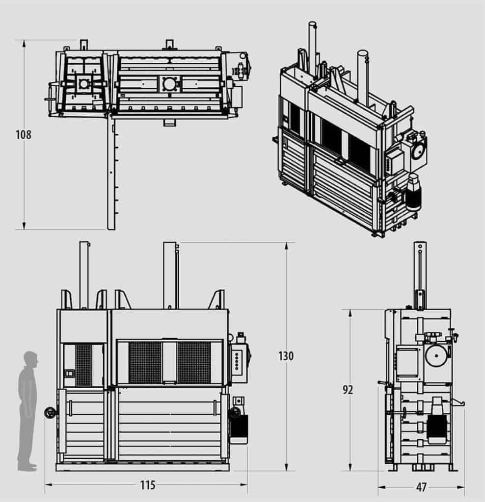 Plan technique : Presse verticale - IBV1320D - Industek