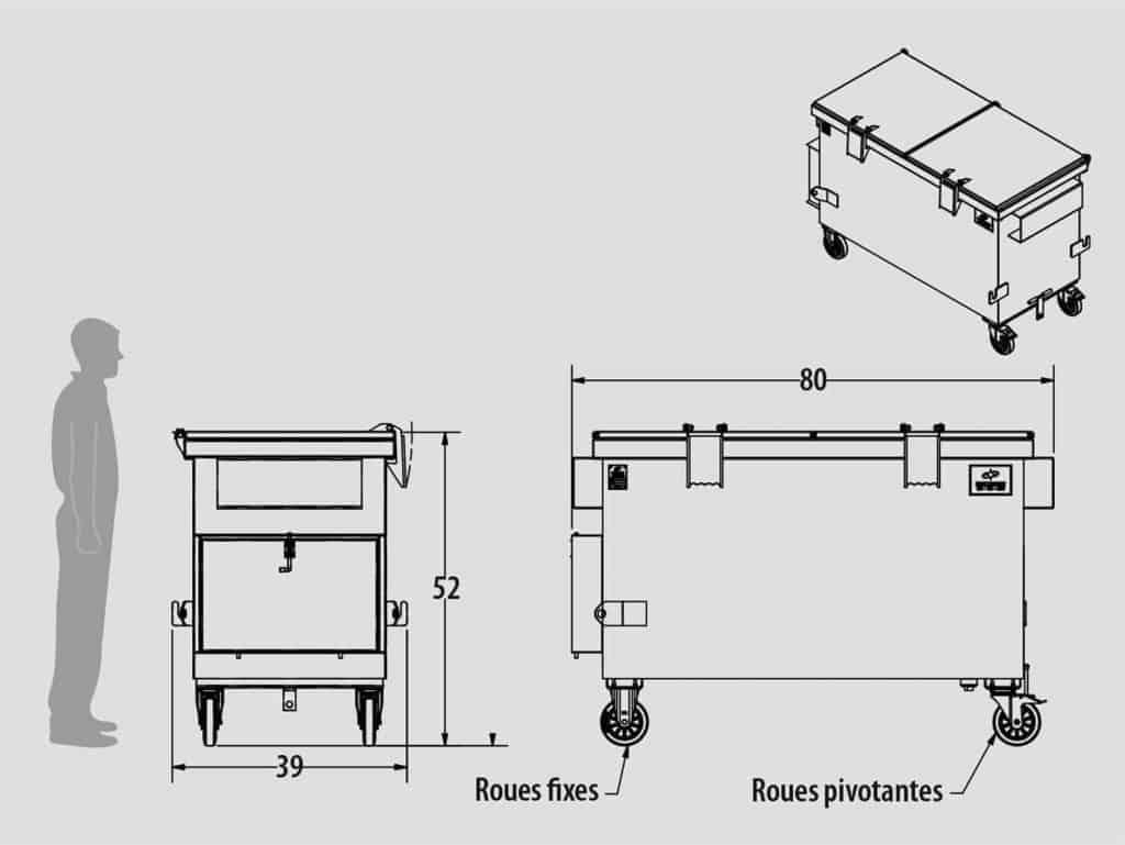 Plan technique - Contenant à compaction à chargement avant - ICC2.0F-19 - Industek