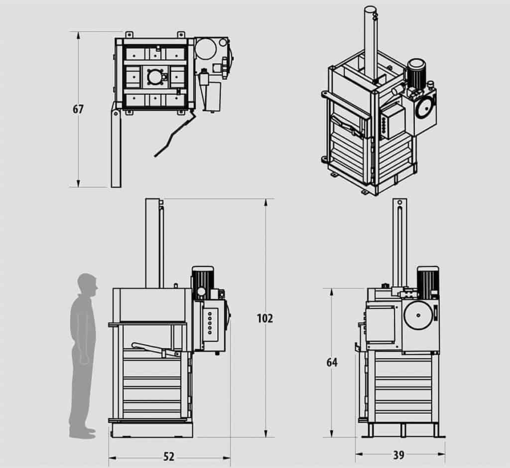 Plan technique : Presse à barils - IP3030 - Industek