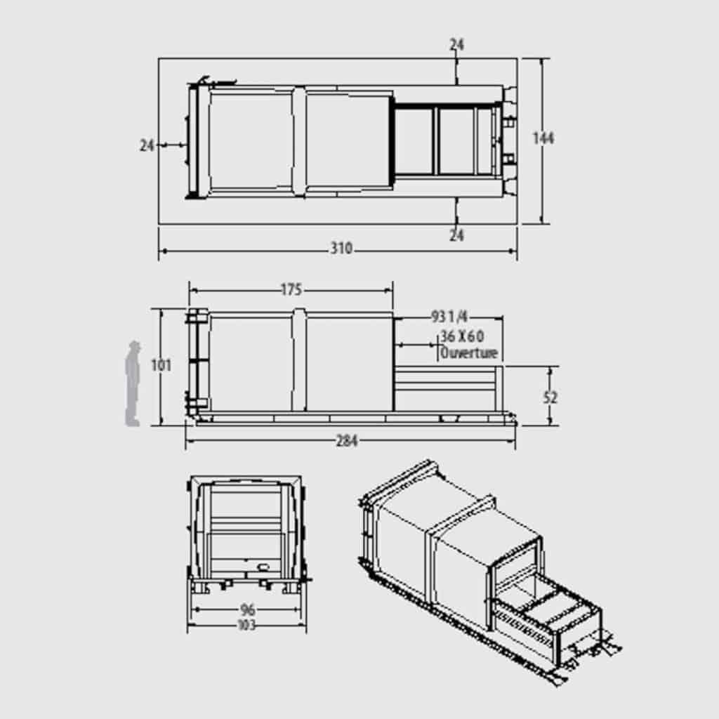 Plan technique compacteur intégré IK 1.6 - Industek
