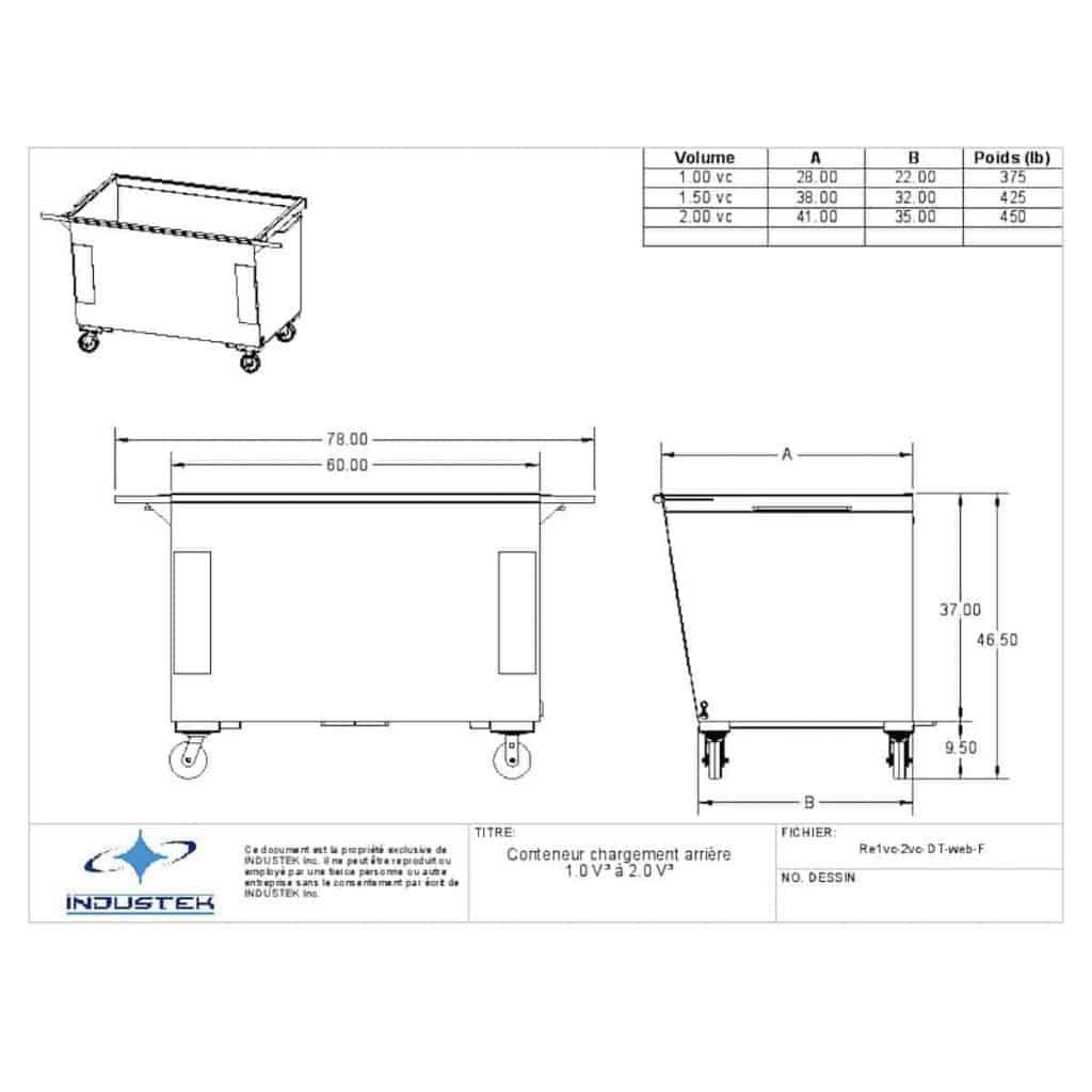Plan technique conteneur à chargement arrière 1vc et 2 vc - Industek