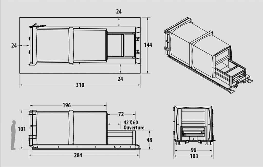 Plan technique : Compacteur intégré - IX 2.0-32 - Industek