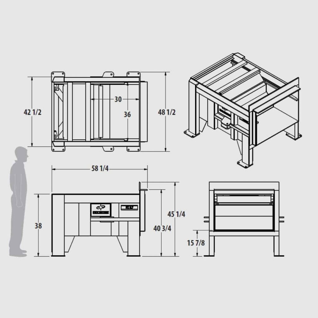 Plan technique mini compacteur stationnaire en X FX 0.7 - Industek