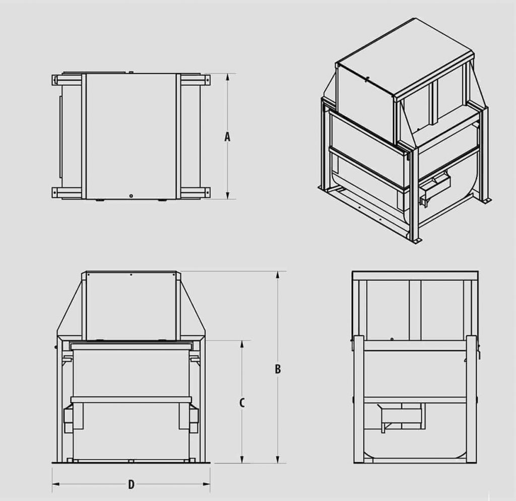 Plan technique - Compacteur vertical VK6 - VK8 - Industek